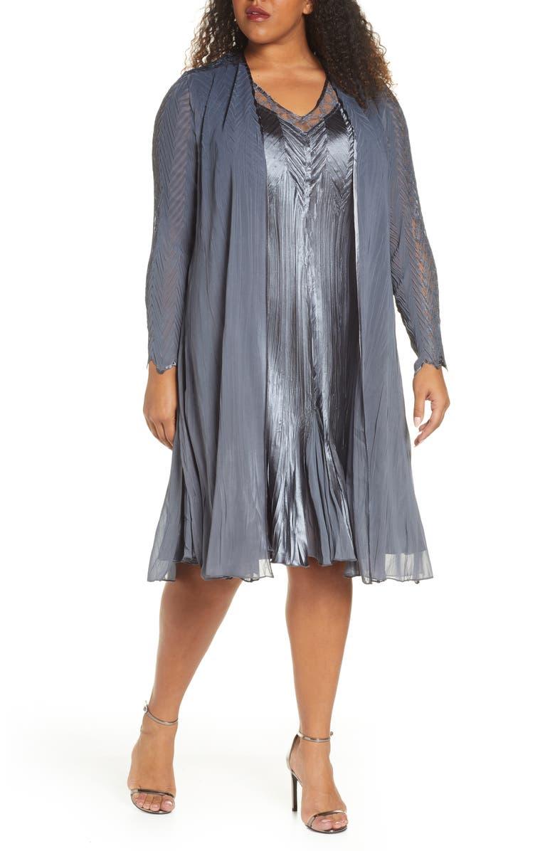 KOMAROV Charmeuse & Chiffon Dress & Long Jacket, Main, color, TRUE STEEL