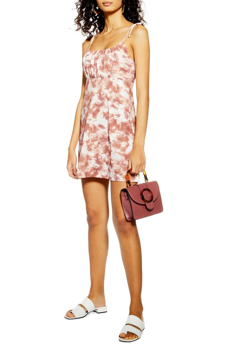 TOPSHOP Tie Dye Crinkle Minidress, Main, color, 530