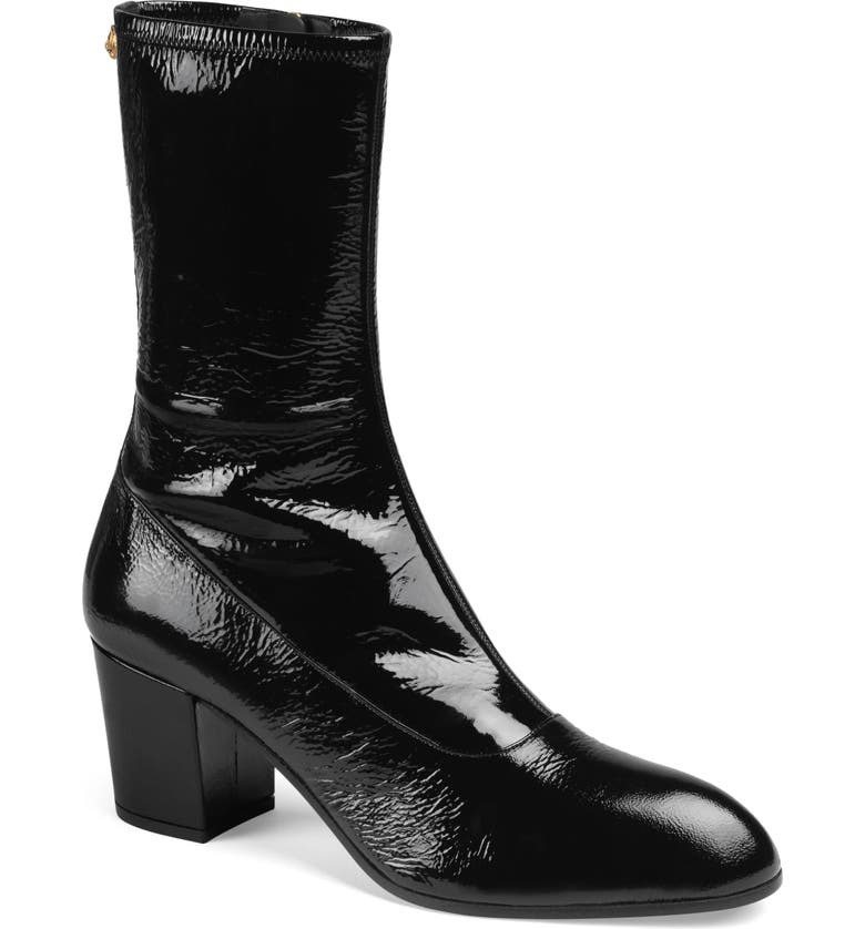 GUCCI Printyl Patent Leather Zip Boot, Main, color, 001
