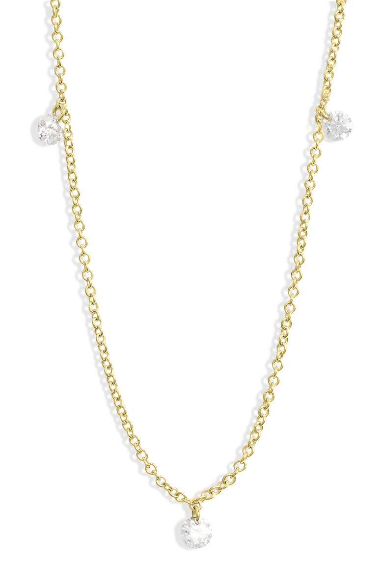 BONY LEVY Floating 3-Diamond Necklace, Main, color, YELLOW GOLD/ DIA