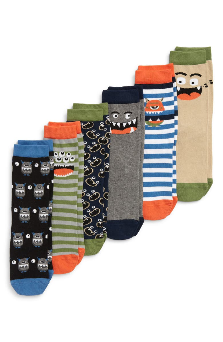 TUCKER + TATE Silly Monster 6-Pack Crew Socks, Main, color, 410