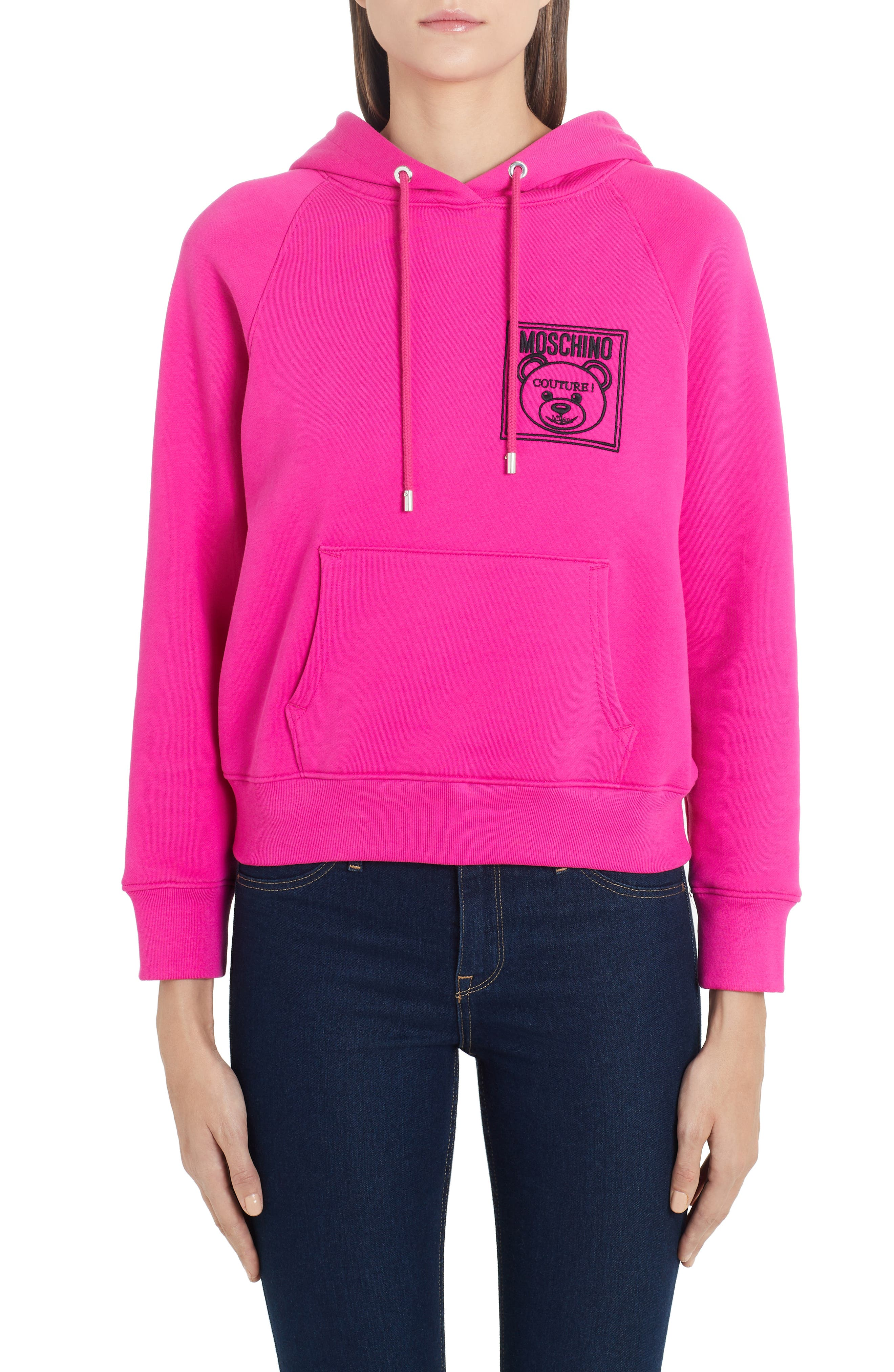 Moschino Tops Embroidered Teddy Logo Hoodie
