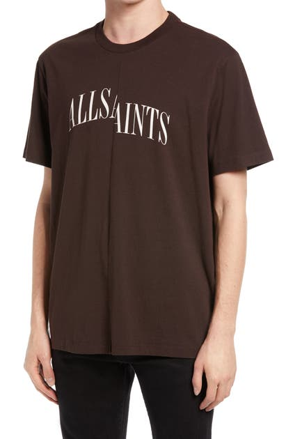Allsaints Dropout Graphic T-shirt In Oxblood Red