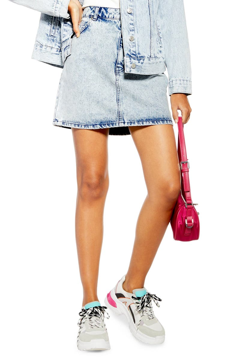 TOPSHOP Acid Wash Denim Miniskirt, Main, color, 420