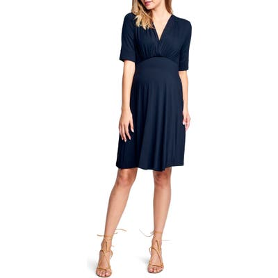 Maternal America Empire Waist Stretch Maternity Dress, Black