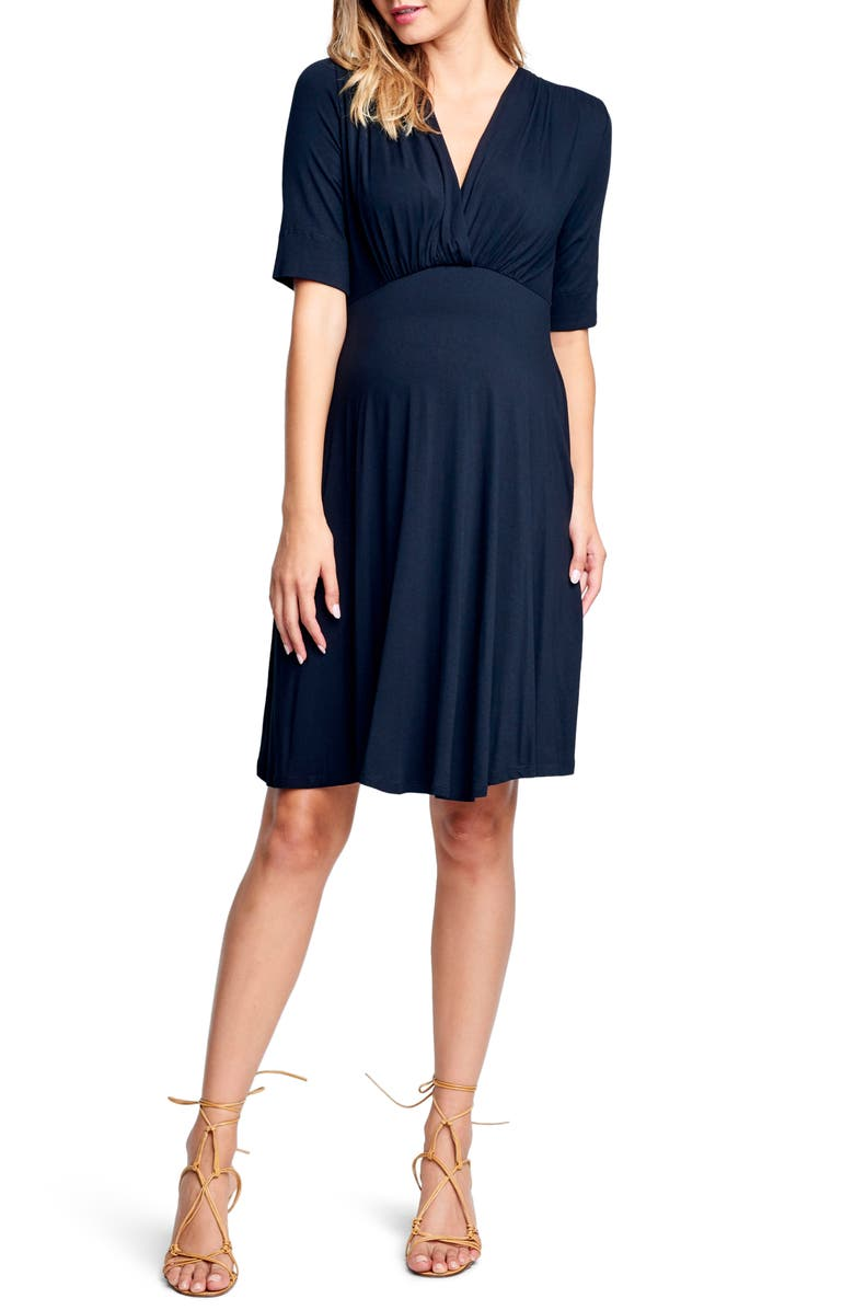 MATERNAL AMERICA Empire Waist Stretch Maternity Dress, Main, color, BLACK