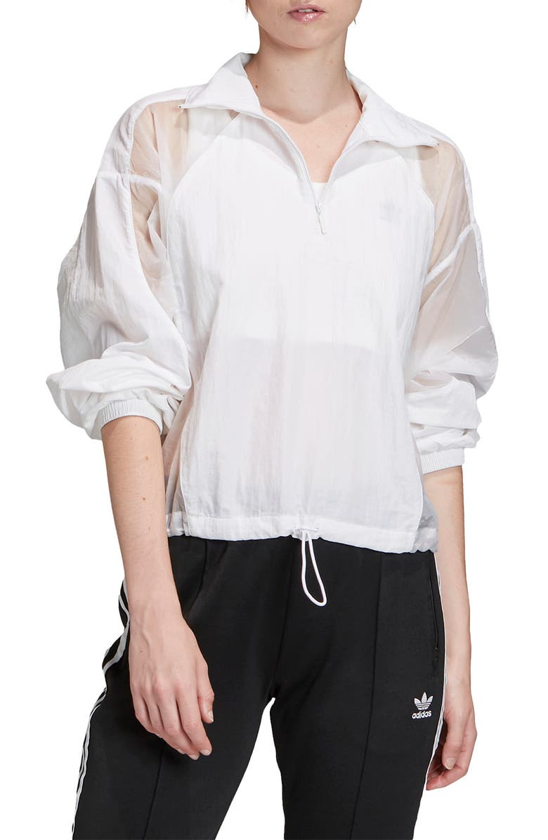 ADIDAS ORIGINALS Half Zip Jacket, Main, color, WHITE