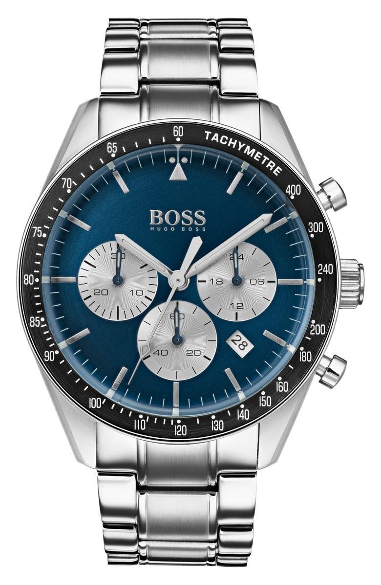 BOSS Trophy Chronograph Bracelet Watch, 44mm, Main, color, SILVER/ BLUE/ SILVER