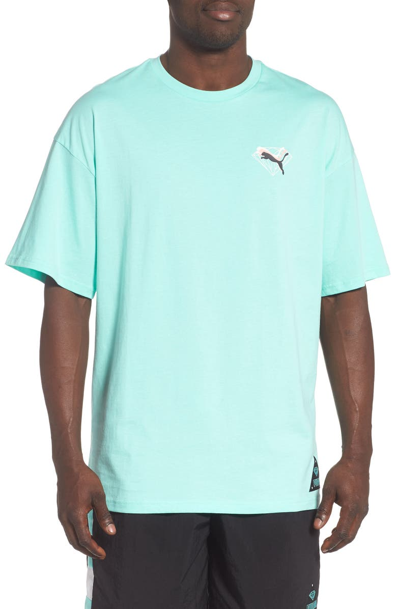 PUMA x DIAMOND Combined Logo T-Shirt, Main, color, ARUBA BLUE