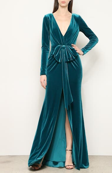 Bow Front Long Sleeve Velvet Gown, video thumbnail