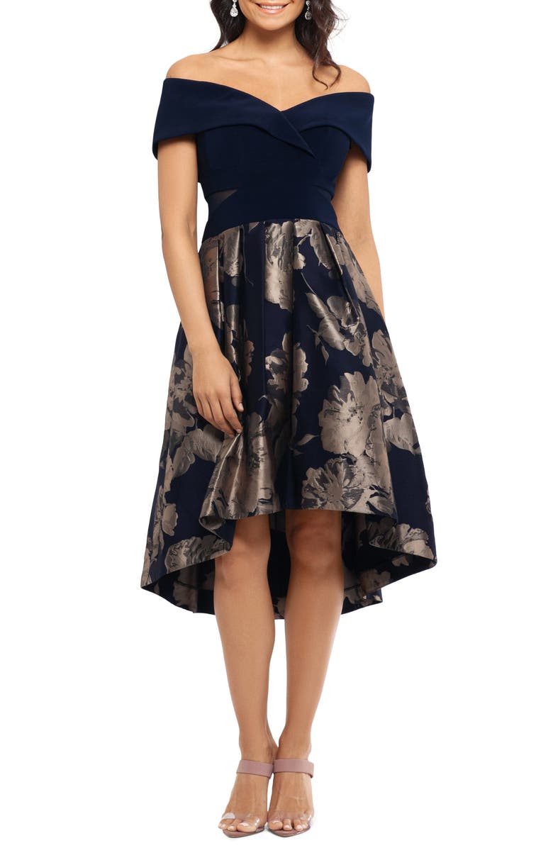 XSCAPE Off the Shoulder High/Low Cocktail Dress, Main, color, NAVY/ GOLD