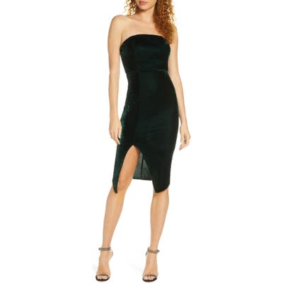 Lulus Hey Baby Strapless Velvet Cocktail Dress, Green