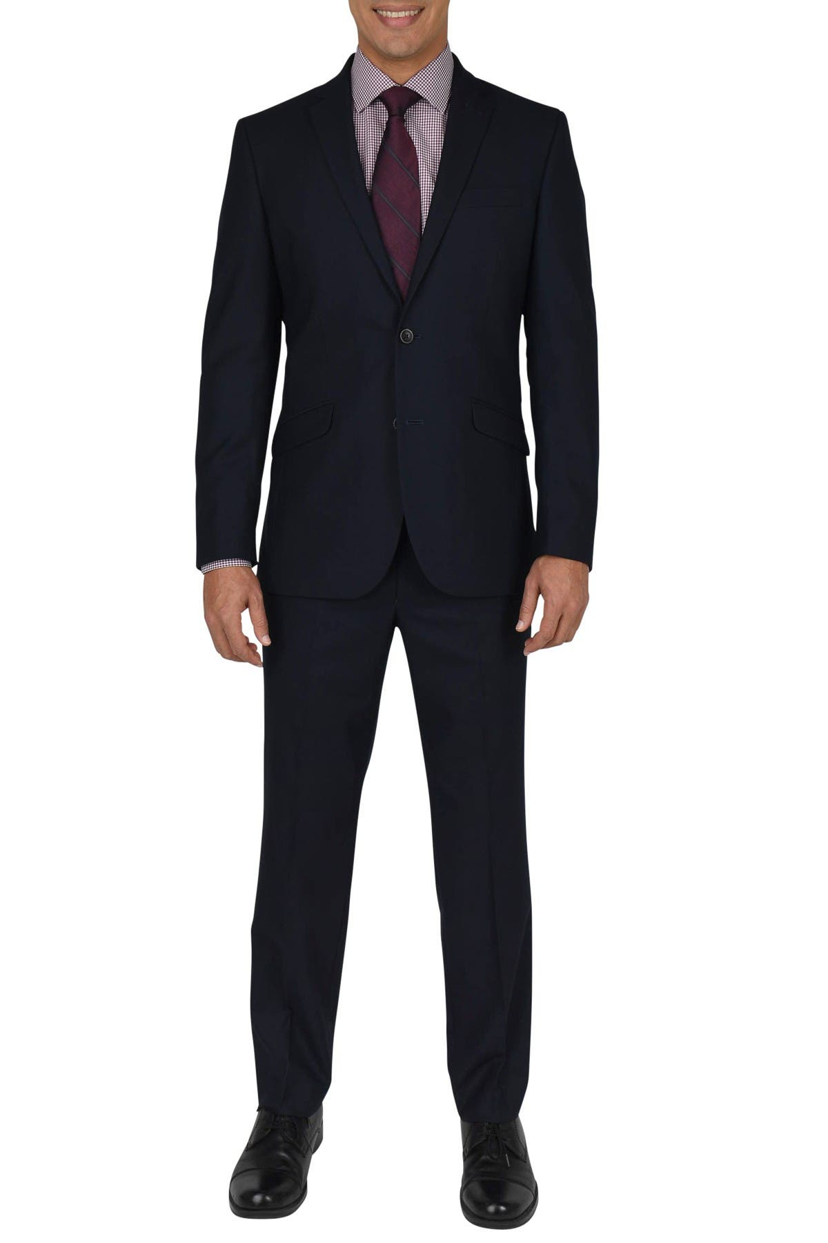 Image of Kenneth Cole Reaction Navy Shadow Check Two Button Notch Lapel Performance Slim Fit Suit