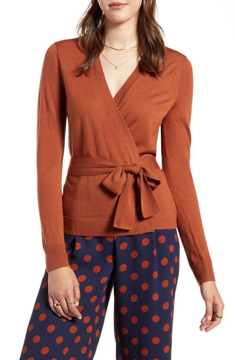 HALOGEN<SUP>®</SUP> Tie Waist Cardigan, Main, color, RUST SEQUOIA