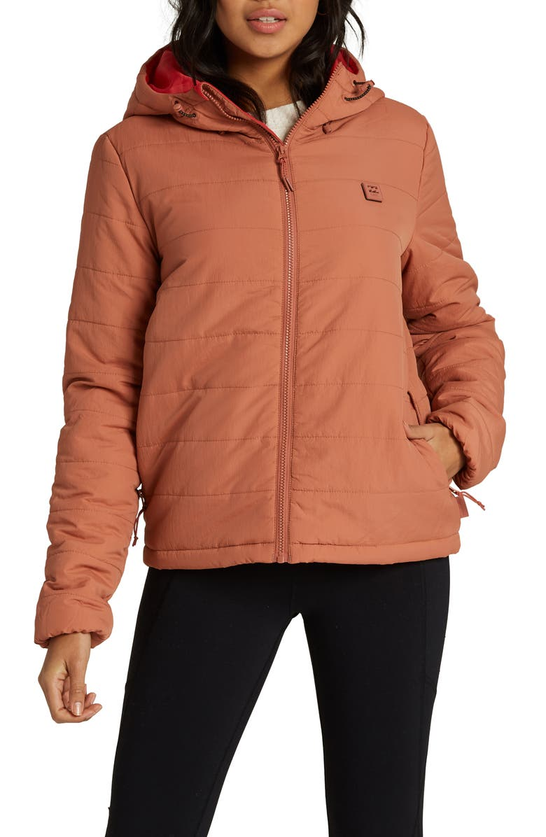 BILLABONG Transport Hooded Puffer Coat, Main, color, CACAO