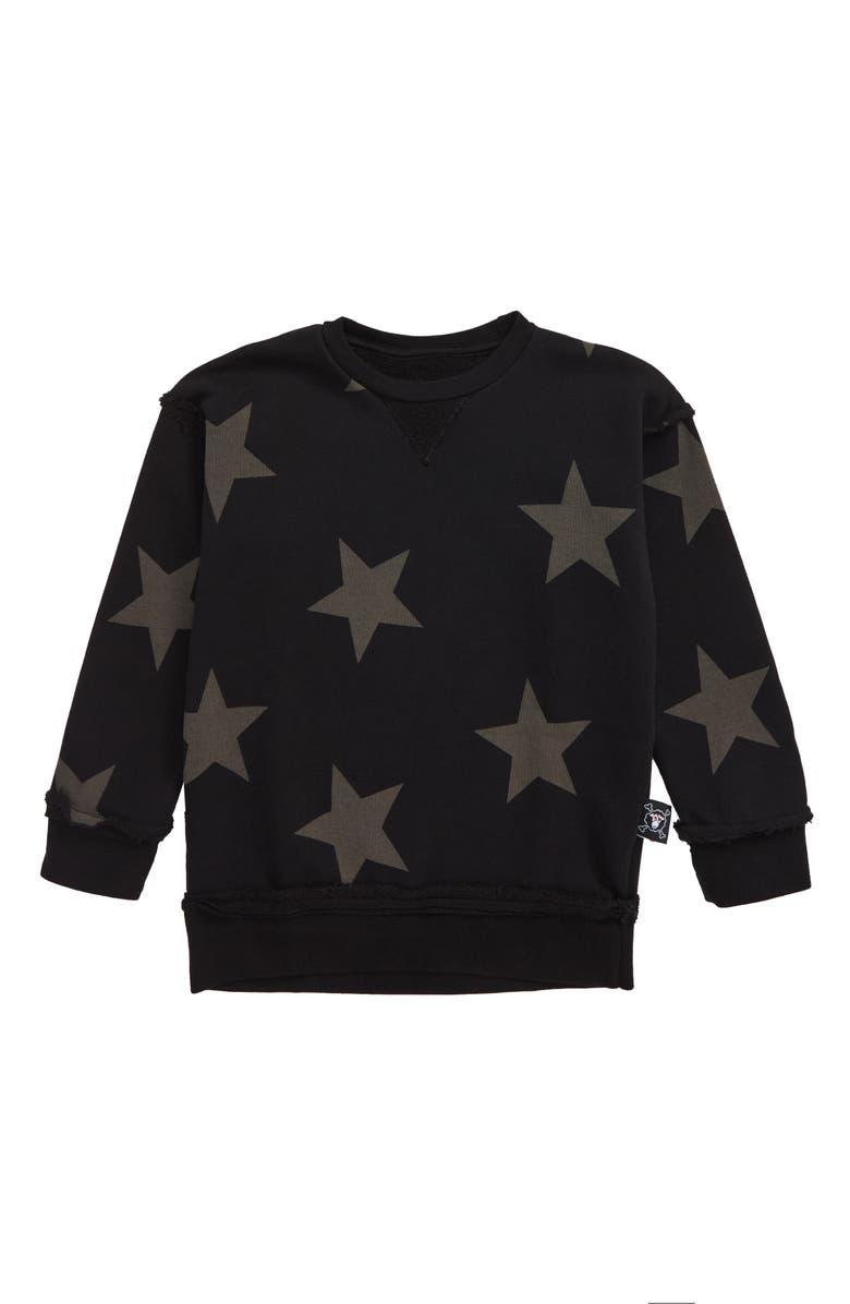 NUNUNU Star Sweatshirt, Main, color, BLACK
