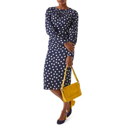 Boden Portia Polka Dot Long Sleeve Sheath Dress, Blue