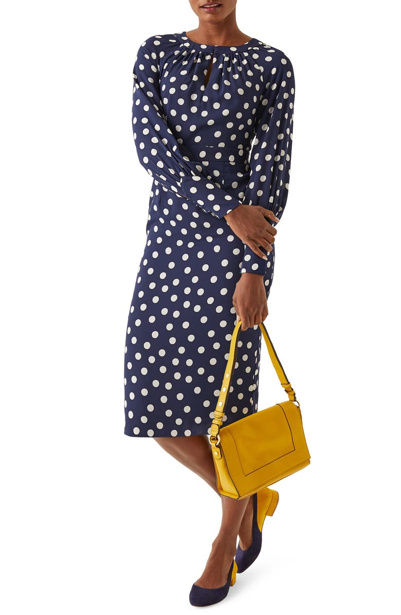 BODEN Portia Polka Dot Long Sleeve Sheath Dress, Main, color, FRENCH NAVY BRAND POLKA DOT