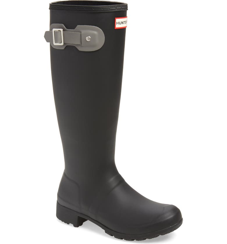 HUNTER Tour Packable Waterproof Rain Boot, Main, color, BLACK/ MERE RUBBER