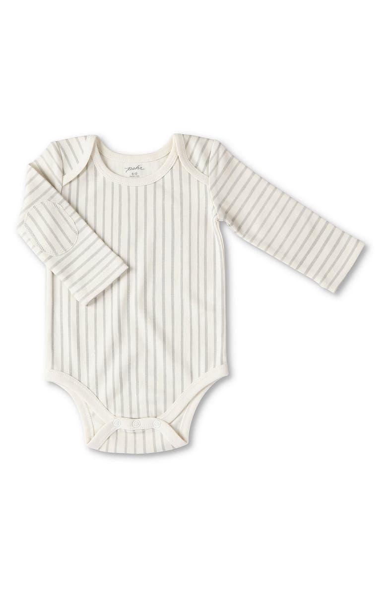 PEHR Stripes Away Organic Cotton Bodysuit, Main, color, 020