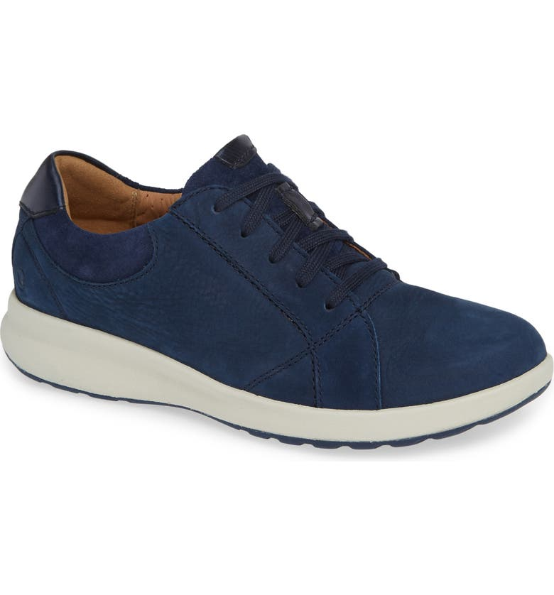 CLARKS<SUP>®</SUP> UnAdorn Lace-Up Sneaker, Main, color, NAVY NUBUCK