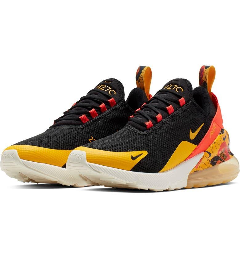 NIKE Air Max 270 SE Sneaker, Main, color, BLACK/ GOLD/ CRIMSON