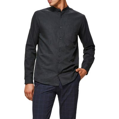 Selected Homme Mart Slim Fit Band Collar Button-Up Shirt, Grey