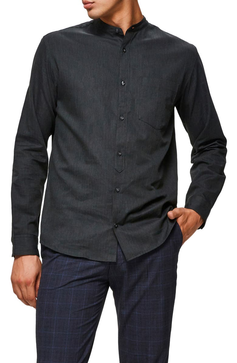 SELECTED HOMME Mart Slim Fit Band Collar Button-Up Shirt, Main, color, GREY