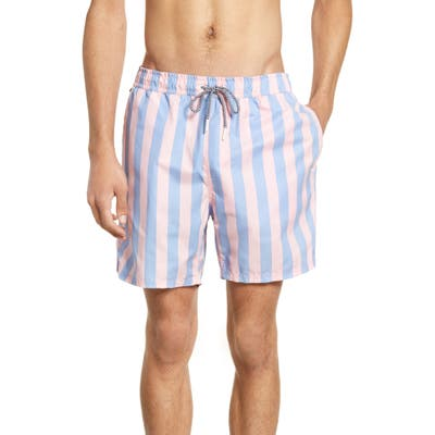 Scotch & Soda Preppy Stripe Swim Trunks, Pink