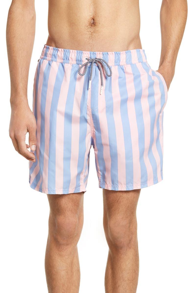 SCOTCH & SODA Preppy Stripe Swim Trunks, Main, color, COMBO C