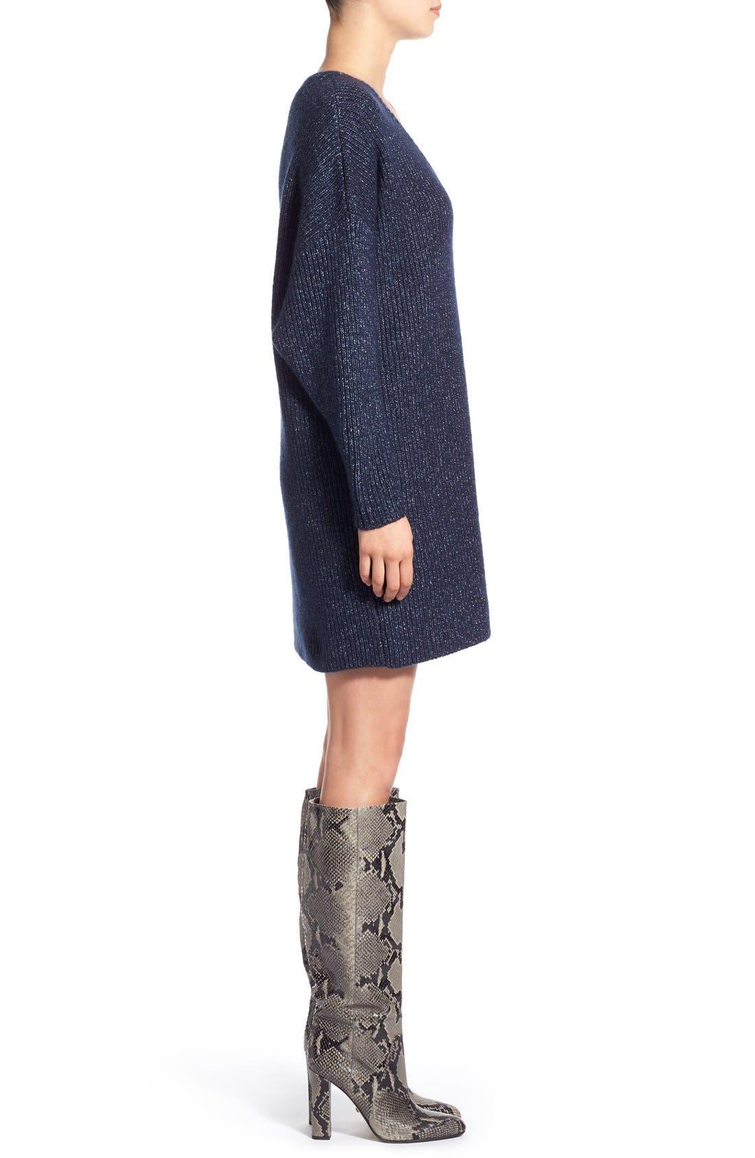 ,                             V-Neck Sweater Minidress,                             Alternate thumbnail 3, color,                             461