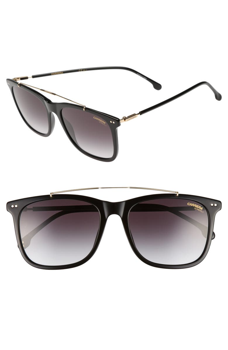 CARRERA EYEWEAR Carrera 150/S 55mm Sunglasses, Main, color, BLACK/ DARK GRAY GRADIENT