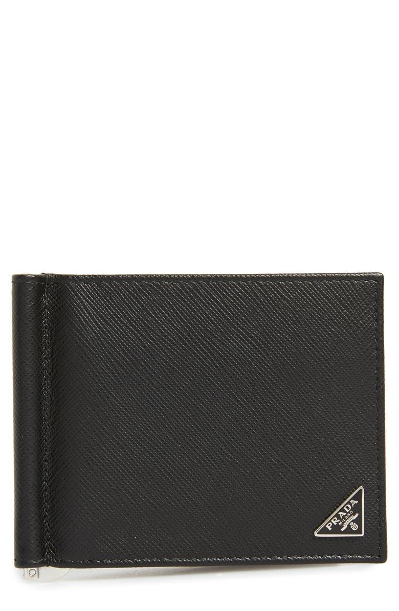 PRADA Saffiano Leather Money Clip Wallet, Main, color, BLACK