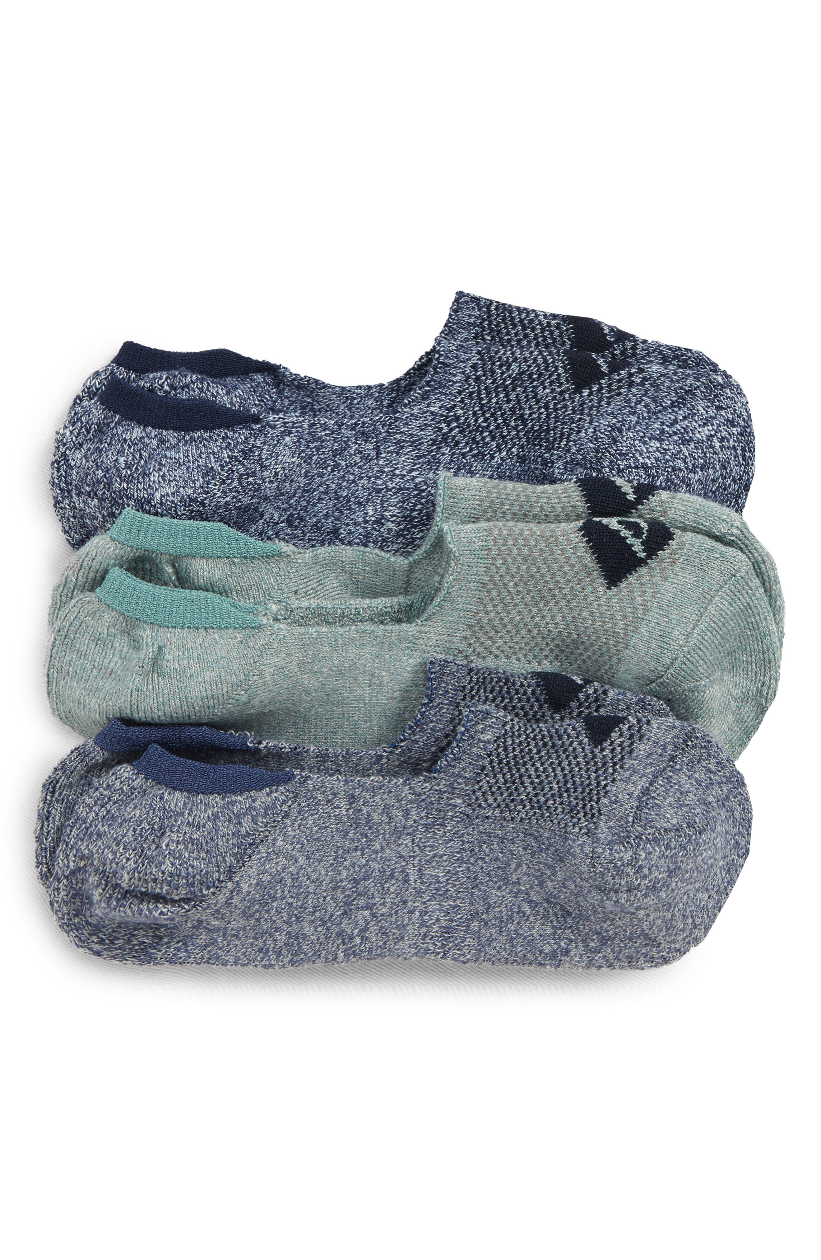 Top-Sider<sup>®</sup> Repreve Assorted 3-Pack Liner Socks, Main, color, NAVY MARL ASST