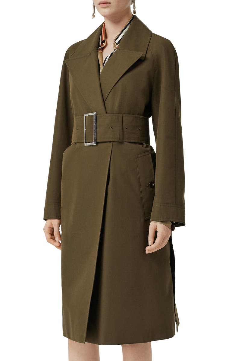 BURBERRY Camelford Belted Wrap Coat, Main, color, DARK MILITARY KHAKI