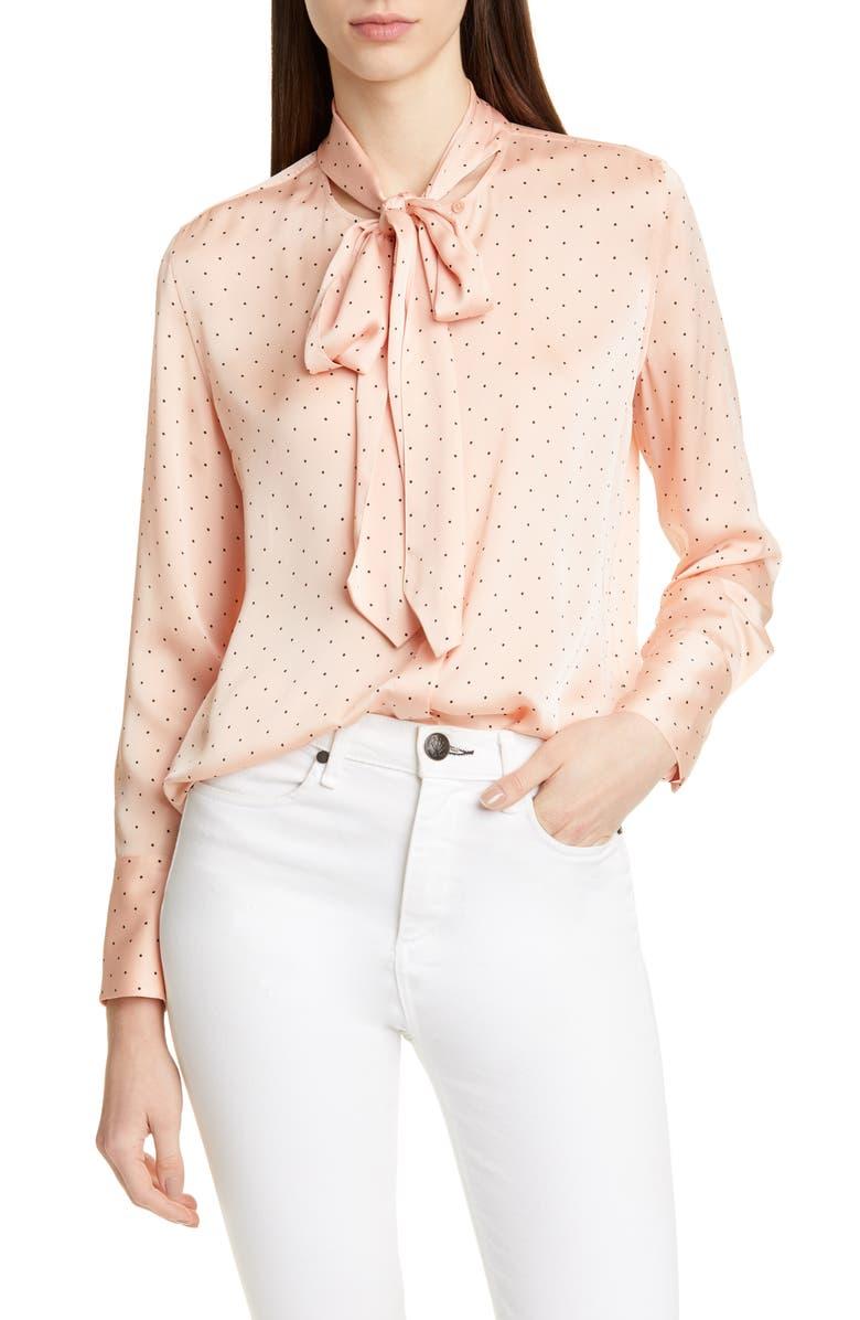 EQUIPMENT Luis Tie Neck Blouse, Main, color, ROSE CLOUD TRUE BLACK