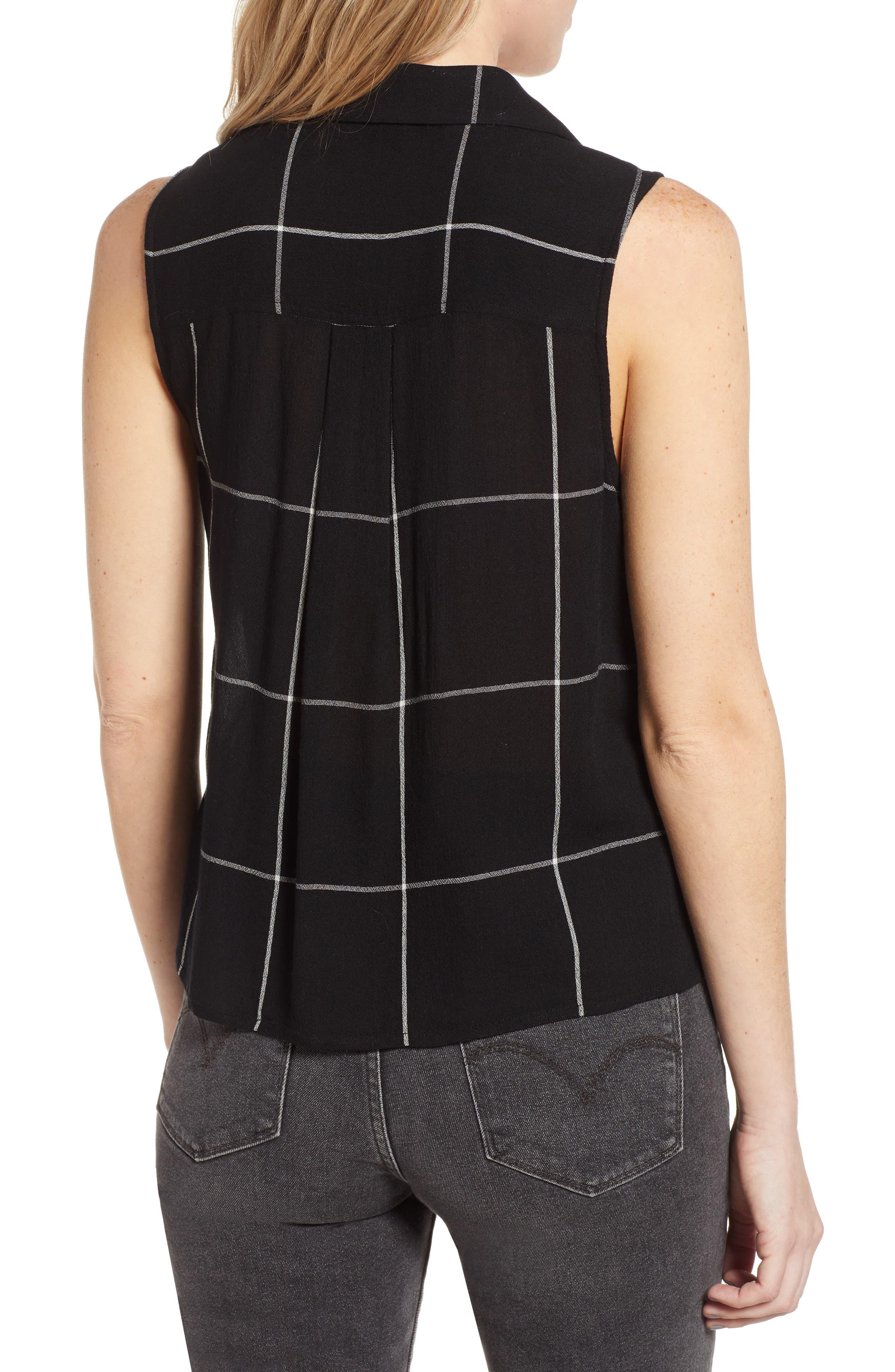 ,                             Sleeveless Shirt,                             Alternate thumbnail 2, color,                             BLACK MAZY WINDOW PANE
