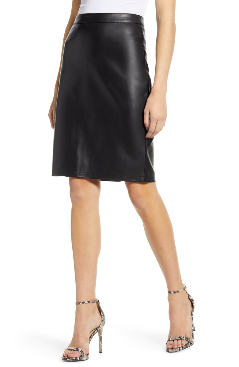 CUPCAKES AND CASHMERE Faux Leather Pencil Skirt, Main, color, BLACK
