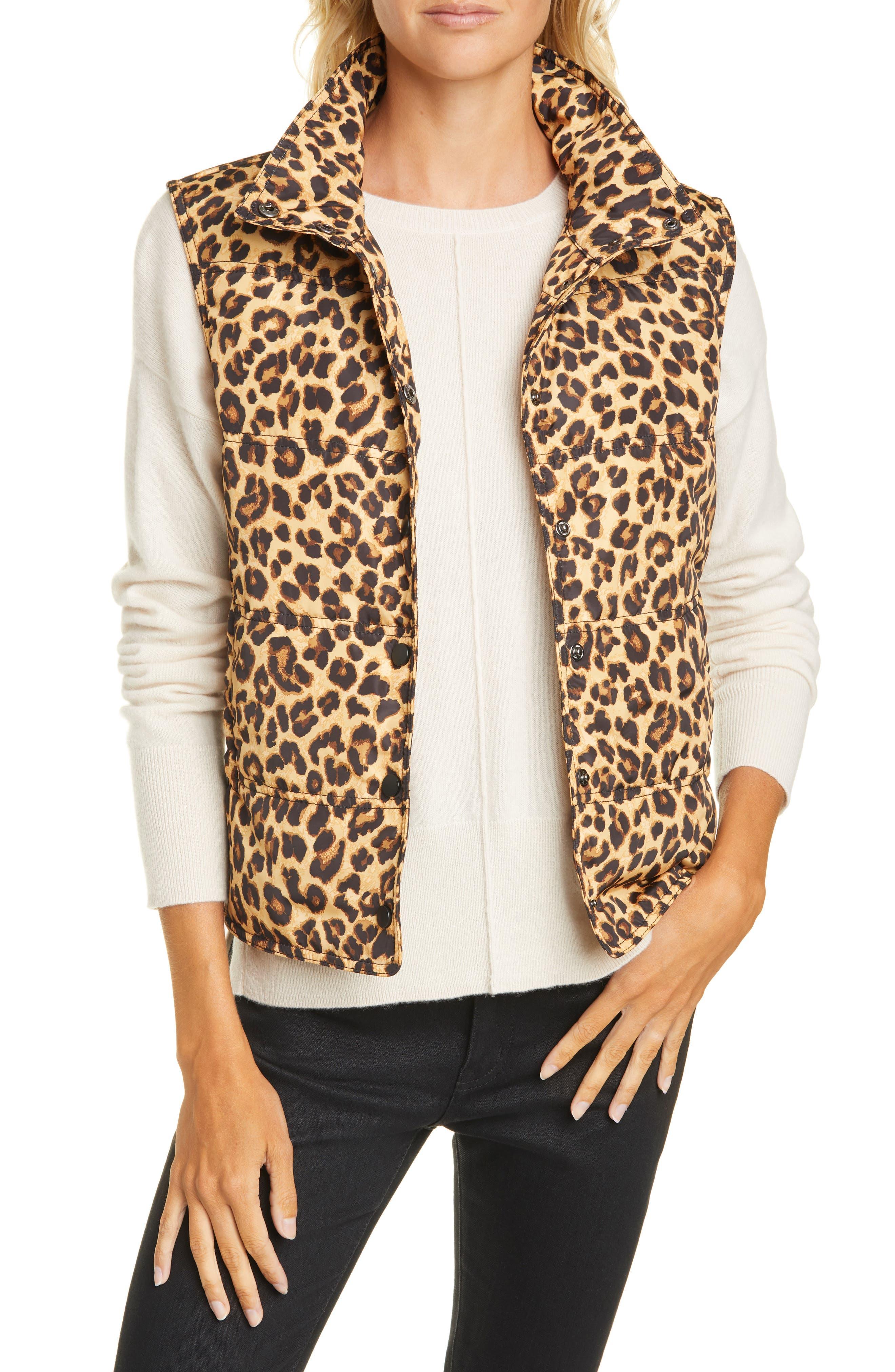 Leopard Puffer Vest Monogrammed Women\u2019s Puffer Vest Black and Gray Leopard Print Outerwear