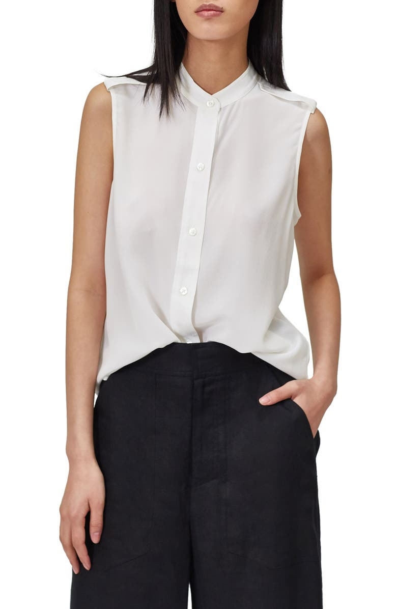EQUIPMENT Charlee Sleeveless Silk Top, Main, color, BRIGHT WHITE