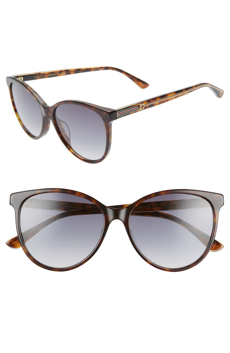 GUCCI 57mm Cat Eye Sunglasses, Main, color, DK HAVANA/CRY/GREY GRADIENT