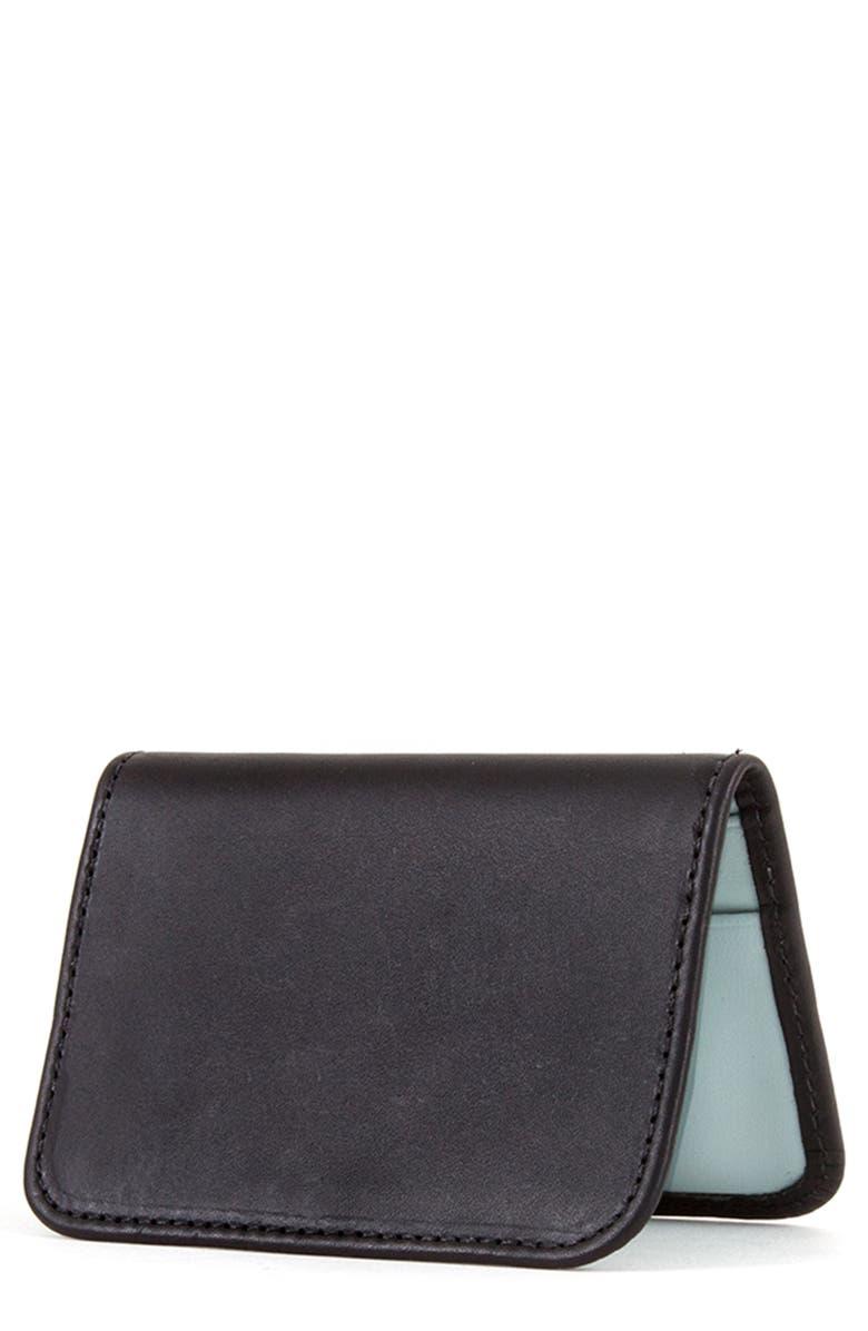 CLARE V. Bifold Leather Card Case, Main, color, BLACK