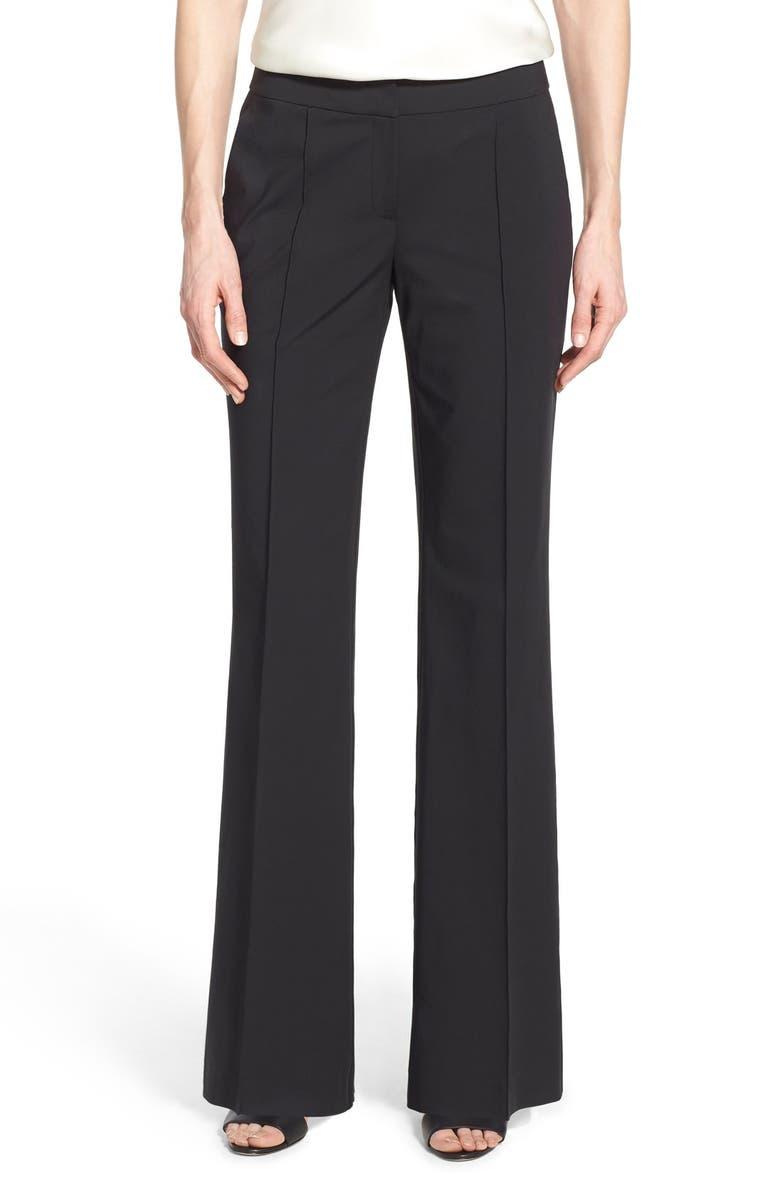 LAFAYETTE 148 NEW YORK 'Kenmare' Flare Leg Pants, Main, color, BLACK