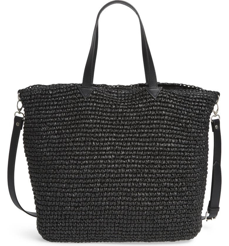 TREASURE & BOND Carlin Woven Straw Tote, Main, color, BLACK