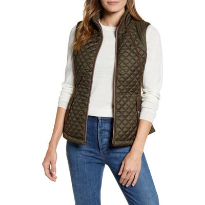 Gallery Knit Side Quilted Vest, Green