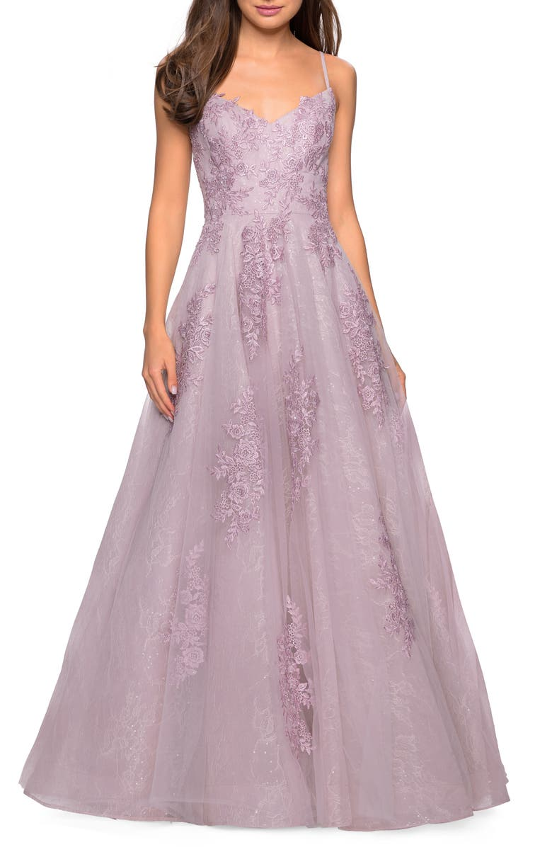 LA FEMME Lace A-Line Evening Dress, Main, color, 650