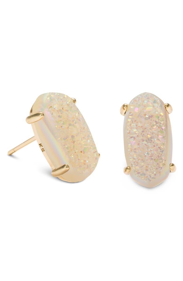 KENDRA SCOTT Betty Stud Earrings, Main, color, GOLD/ IRIDSCNT DRUSY