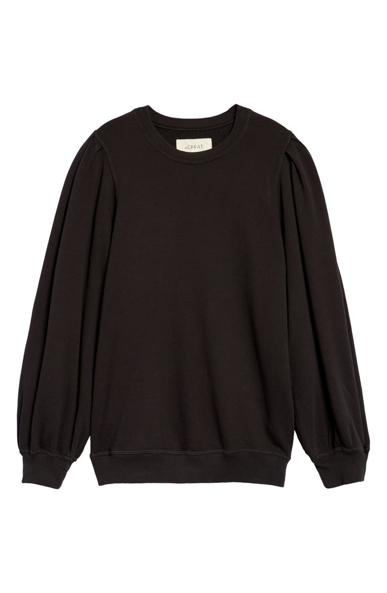 THE GREAT. The Pleat Sleeve Sweatshirt, Main, color, 001