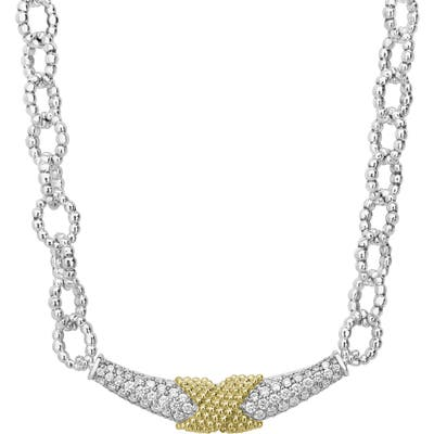 Lagos Caviar Lux Diamond & Silver Link Necklace