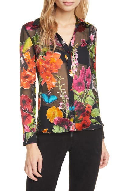 Alice And Olivia Tops ELOISE BURNOUT FLORAL BLOUSE
